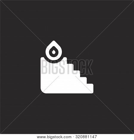 Stairs On Fire Icon. Stairs On Fire Icon Vector Flat Illustration For Graphic And Web Design Isolate
