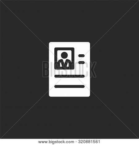 Resume Icon. Resume Icon Vector Flat Illustration For Graphic And Web Design Isolated On Black Backg