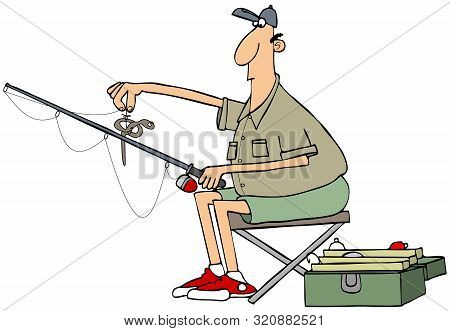 Illustration Of A Fisherman Holding His Pole And A Nightcrawler On A Hook.