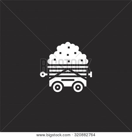 Wagon Icon. Wagon Icon Vector Flat Illustration For Graphic And Web Design Isolated On Black Backgro