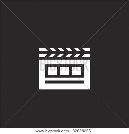 Cinema Icon. Cinema Icon Vector Flat Illustration For Graphic And Web Design Isolated On Black Backg