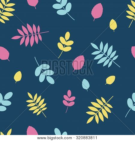 Nature Background In Yellow, Pink, Blue Colors. Seamless Floral Pattern Tile In Flat Style.
