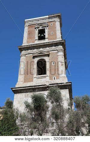 Belltower Of Saint Clare Also Called Santa Chiara In Italian Language In Naples Italy