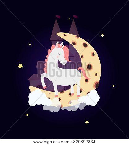 Cute Unicorn On Moon With Dream Castle In Night Sky With Stars, Wish Good Night. White Horse Sleep S