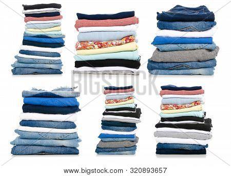 Set Stack Folded Clothes On White Background Isolation