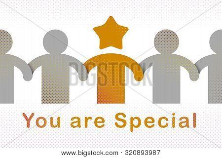Special Person Concept, Best Friend Favorite Vector Illustration, Friendship Metaphor, Outstanding P