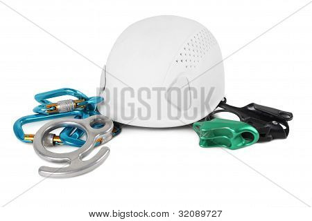different equipment for mountain climbing isolated on white background poster