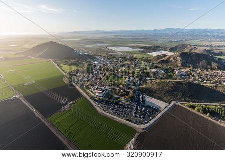 Aerial view of coastal farm fields and State University campus near Camarillo in scenic Ventura County, California.