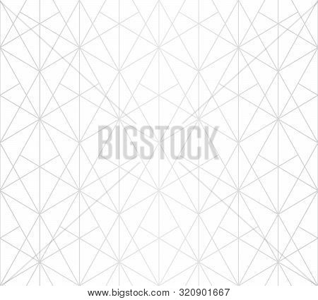Silver Lines Pattern. Vector Geometric Linear Seamless Texture. Subtle Ornament With Delicate Grid,