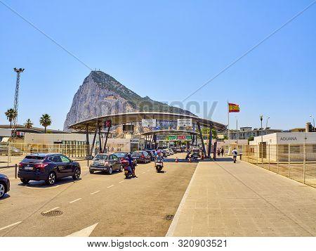 La Linea De La Concepcion, Spain - June 29, 2019. Border Crossing Point From La Linea De La Concepci
