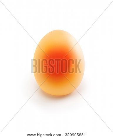 Naked egg. Created by soaking a egg in vinegar. The vinegar dissolves the eggshell which is made of  calcium carbonate, thus leaving an naked egg. Often an subject of an household science experiment.