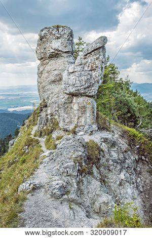 Under Ostra Peak In Big Fatra And Turiec Basin, Slovak Republic. Seasonal Natural Scene. Travel Dest