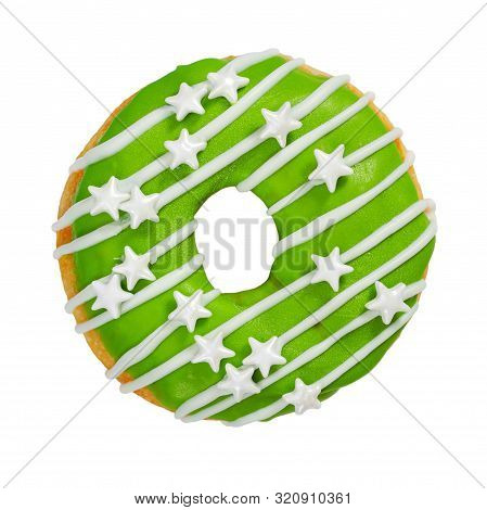 Donut With Green Icing And Sprinkles Isolated On White Background.