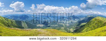 View From Velka Chochula Peak, Low Tatras, Slovak Republic. Seasonal Natural Scene. Travel Destinati