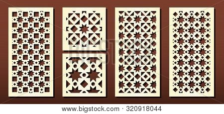 Laser Cut Panels Vector Set. Metal Cutting Or Wood Carving, Fretwork Stencil, Paper Art. Abstract Ge