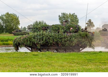 Minden / Germany - September 4, 2019: German Infantry Fighting Vehicle Puma Drives On A Military Exe