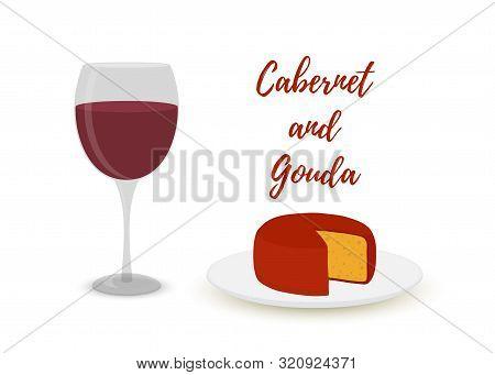 Vector Cabernet With Gouda, Cartoon Flat Style