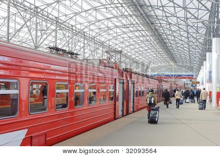 railroad station with red train in Domodedovo airport, Moscow