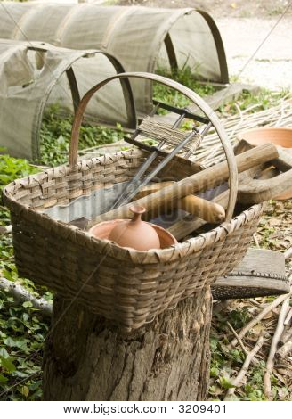 Basket With Colonial Tools