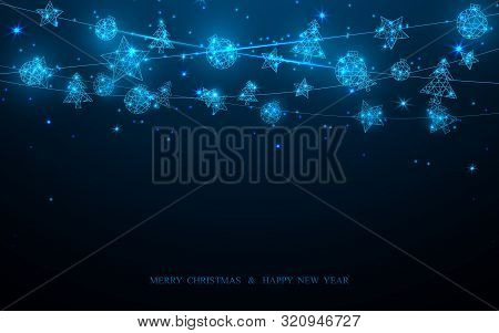 Merry Christmas And Happy New Year Postcard. Christmas Decoration Technology Concept On Dark Blue Ba