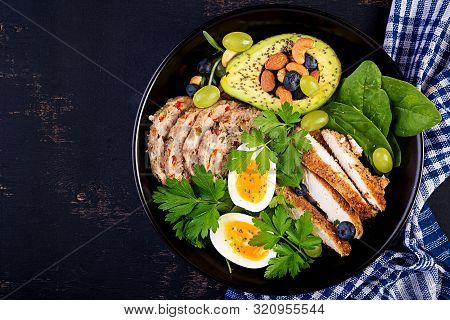 Ketogenic Diet. Buddha Bowl Dish With Meatloaf, Chicken Meat, Avocado, Berries And Nuts. Detox And H
