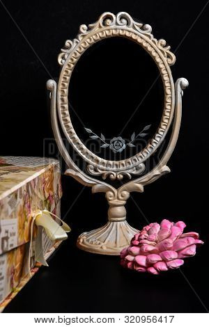 Vintage Oval Desk Mirror With White Frame, Rose And A Vintage Box