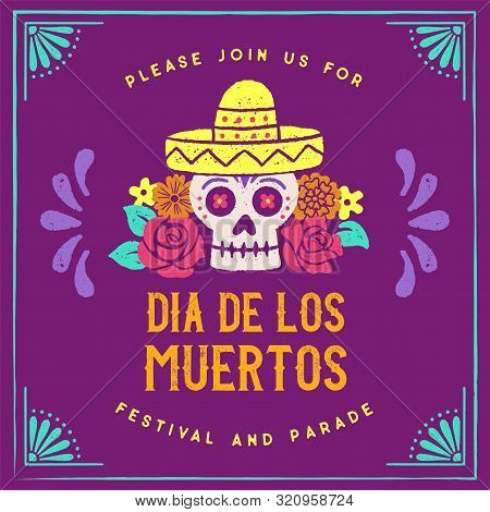 Day Of The Dead Hand Drawn Logo Design - Day Of The Dead Themed Logo With Hand Drawn Graphic Element