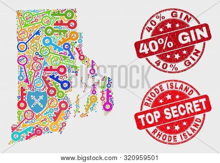Guard Rhode Island State Map And Seal Stamps. Red Rounded Top Secret And 40 Percent Gin Distress Sea