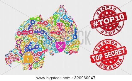 Passkey Rwanda Map And Seal Stamps. Red Round Top Secret And Hashtag Top10 Grunge Seal Stamps. Color