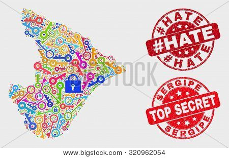 Safeguard Sergipe State Map And Watermarks. Red Rounded Top Secret And Hashtag Hate Grunge Watermark