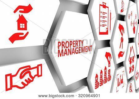 Property Management Concept Cell Background 3d Illustration