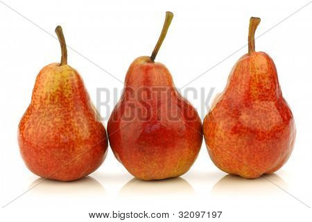 Row of fresh Bartlett Pears on a white background