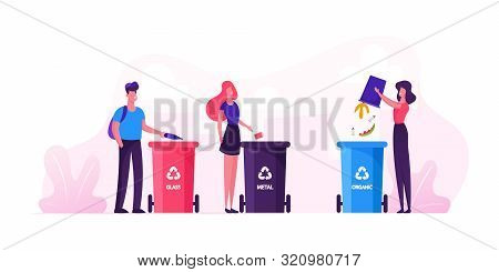 Group Of People City Dwellers Throw Garbage To Recycle Litter Bins For Glass, Metal And Organic Wast