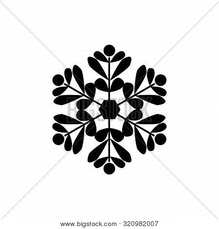 Snowflake Sign. Silhouette Design Black Snowflake On White Background. Symbol Of Christmas Holiday S