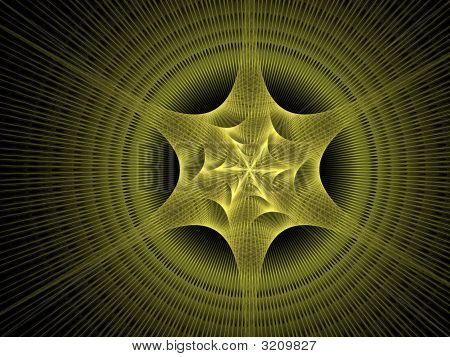 3d rendering of a bright yellow woven star very detailed poster