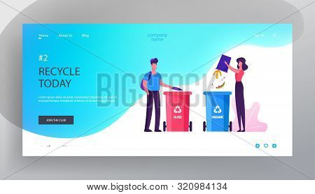 Environmental Protection Website Landing Page. People Throw Garbage To Recycle Litter Bins For Glass