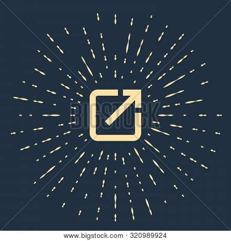 Beige Open In New Window Icon Isolated On Dark Blue Background. Open Another Tab Button Sign. Browse