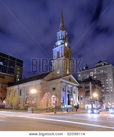 Arlington Street Church in Boston, Massachusetts. The present building was completed in 1861.