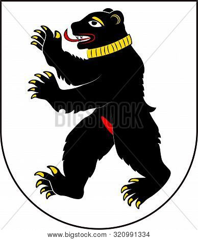 Coat Of Arms Of St. Gallen Is A Swiss Town And The Capital Of The Canton Of St. Gallen. Vector Illus