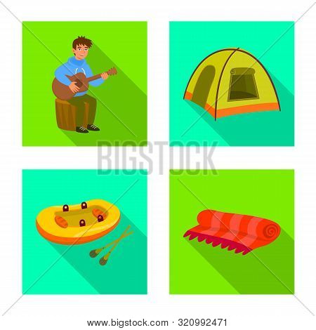 Vector Illustration Of Cookout And Wildlife Icon. Collection Of Cookout And Rest Vector Icon For Sto