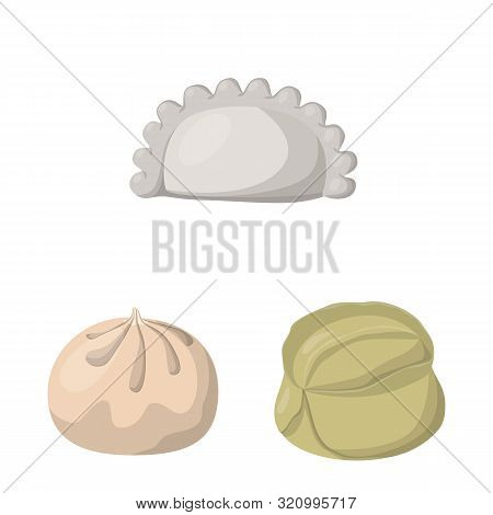 Isolated Object Of Dumplings And Food Symbol. Set Of Dumplings And Stuffed Stock Vector Illustration