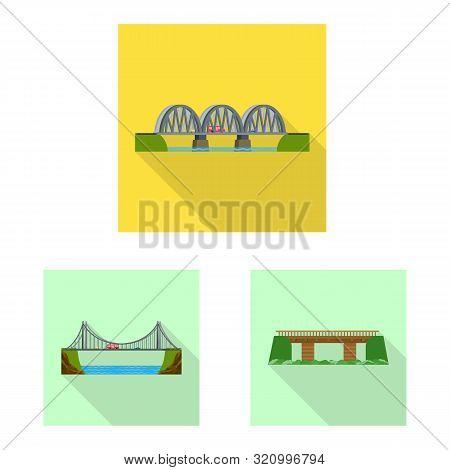 Vector Design Of Bridgework And Bridge Logo. Set Of Bridgework And Landmark Stock Symbol For Web.