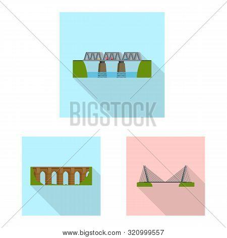 Vector Illustration Of Bridgework And Bridge Symbol. Set Of Bridgework And Landmark Stock Symbol For