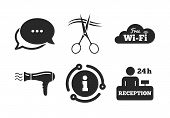 Wi-fi, Hairdryer in room signs. Chat, info sign. Hotel services icons. Wireless Network. Hairdresser or barbershop symbol. Reception registration table. Classic style speech bubble icon. Vector poster
