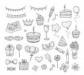 Birthday sketch. Happy birthday celebration party hand drawn items. Cake kids holiday doodle art drawing vector elements. Cake and birthday card, gift box illustration poster