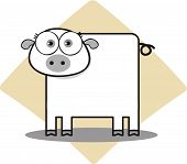 Cartoon Pig in Black and White with big eye poster