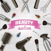 Inscription Centered Around Hairdresser Tools. Scissors and Hairdryer on Table. Tools on Table in Beauty Salon. Vector Illustration. Hairdressing Supplies. Women Salon. Nail Polish and Brash. poster