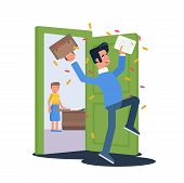 Happy student passed exam vector illustration. Pupil getting high grade flat clipart. Exam results. Cheerful excited teenager cartoon character. Euphoric guy celebrating in school corridor poster