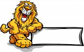 Lion Head Smiling Mascot Leaning on a Sign Vector Illustration poster