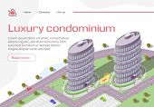Luxury Condominium Horizontal Banner, Buildings, Real Estate Residential Complex, Multi-Storey House Construction, Investment Project. Apartment for Rich People Living Isometric 3d Vector Illustration poster